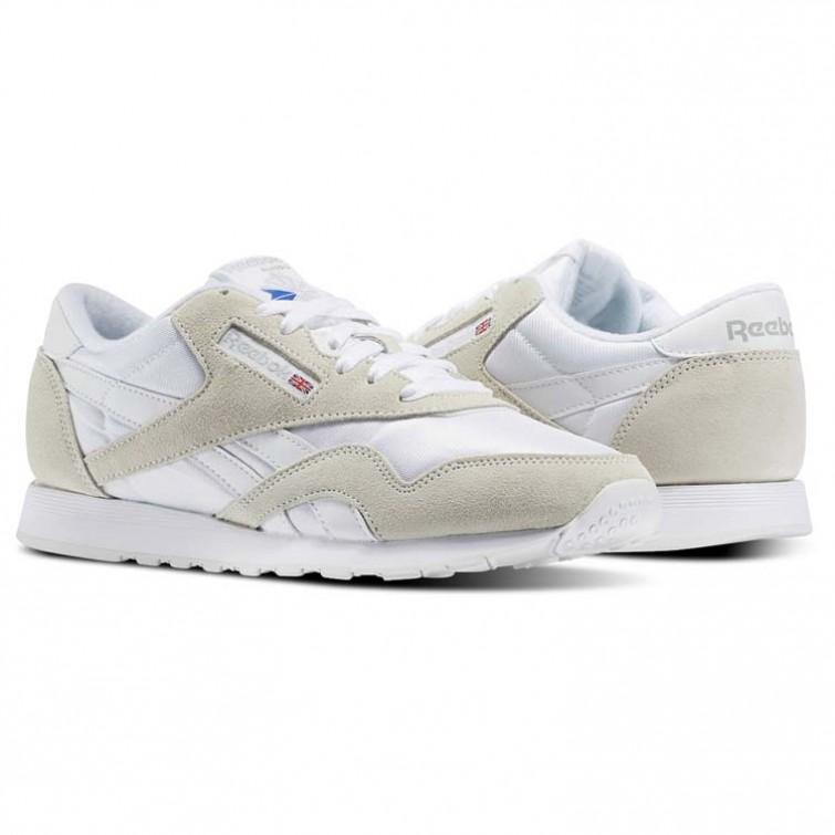 New Reebok Classic Nylon Shoes. Best Reebok Shoes Mens White/Light Grey