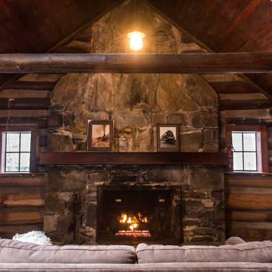Reeb Ranch Cabin - Living Room Fireplace