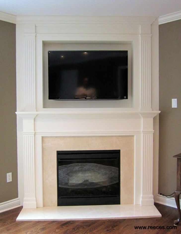 Clean lines and simplicity define modern styling in this fireplace mantel.  Here is the perfect