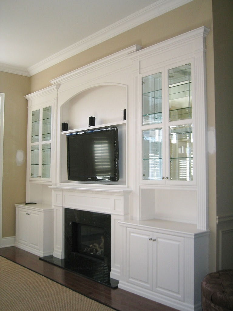White Lacquer Wall Unit with TV  Fireplace Inserts