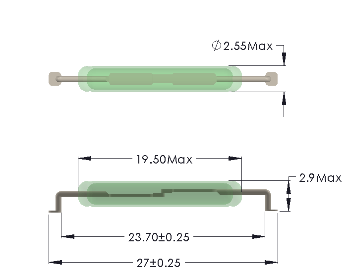 Drawing of LV-1925 Reed Switch for SMD mounting