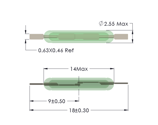 Drawing of MC-1425 with Cropped Leads