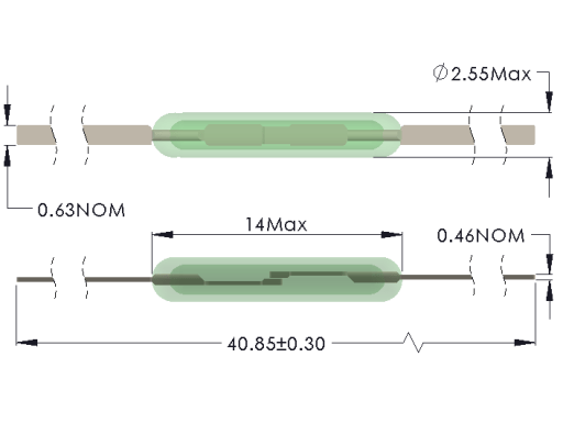 Drawing of MC-1425 Close Differential Reed Switch with Full Length Leads