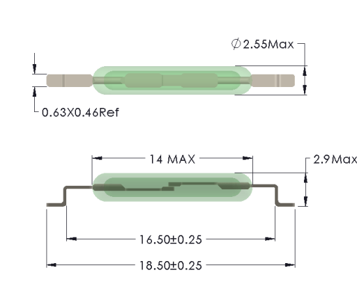 Drawing of MC-1425 with SMD Formed Leads