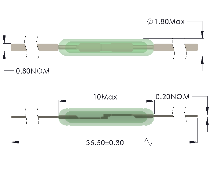Drawing of MM-1018 Reed Switch