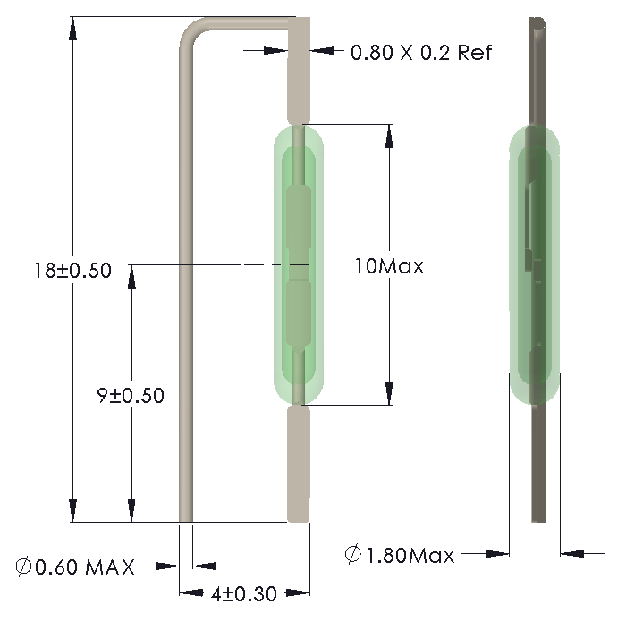 Drawing of showing Leads formed for Vertical Mounting