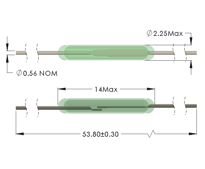 Drawing of MO-1422 Reed Switch with Full Length Leads