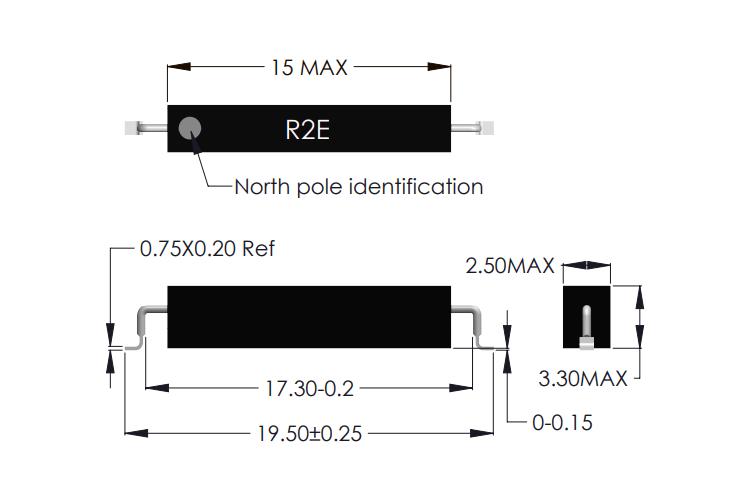 R2E-S Latching Reed Sensor Drawing