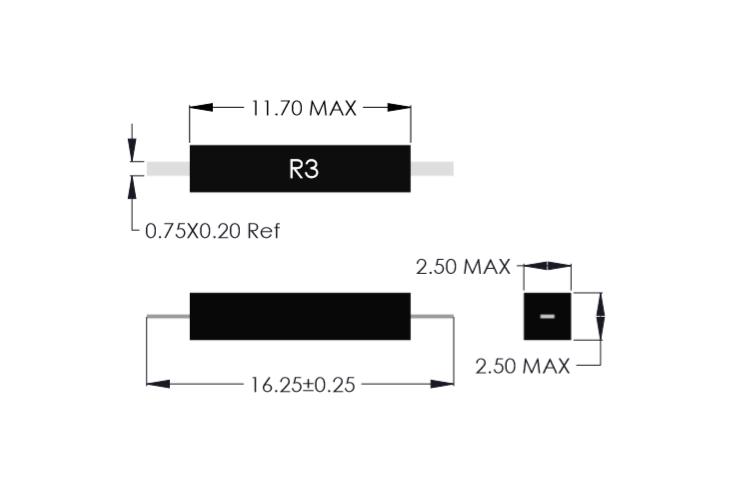 Drawing of R3F Miniature Reed Sensor