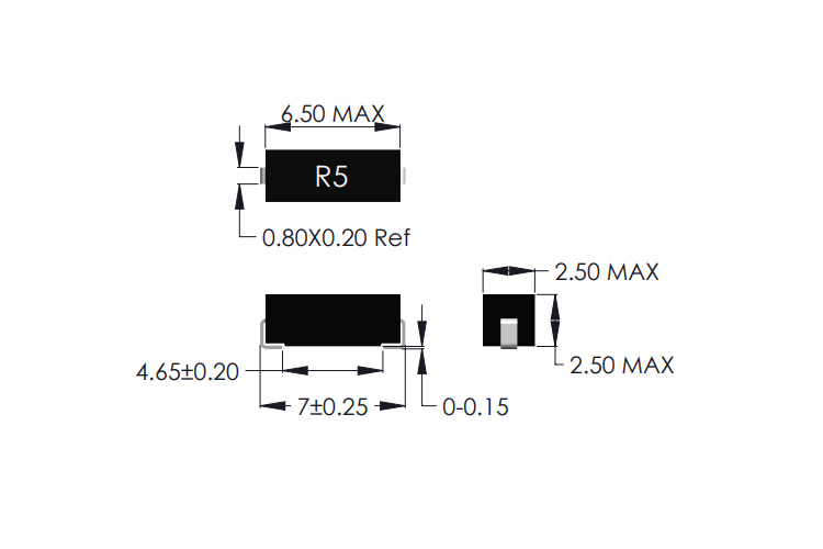 R5-J SMD Reed Sensor drawing