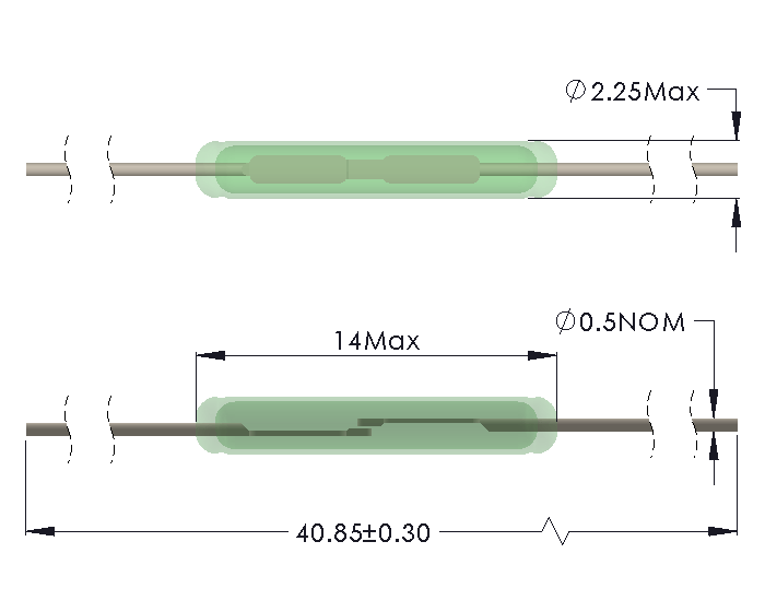 Drawing of SM-1322 Reed Switch