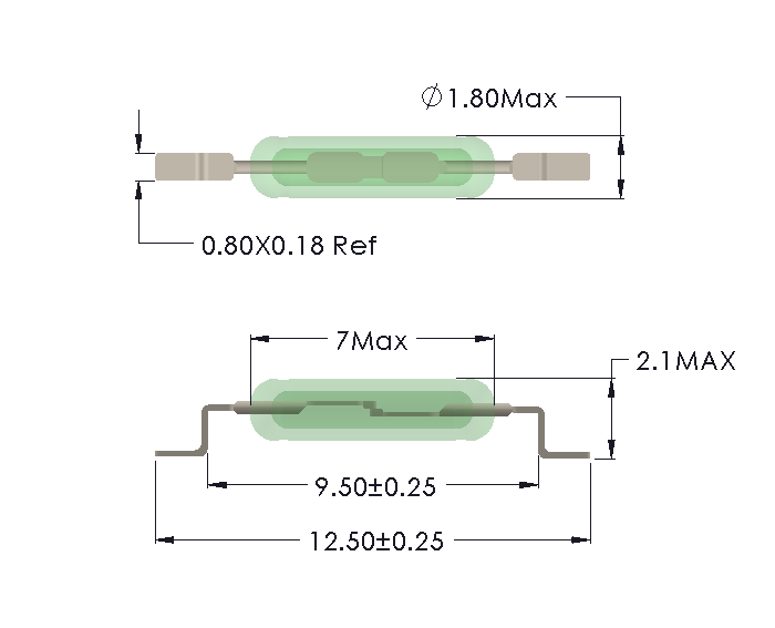 Drawing of UM-0018-H Reed Switch for SMD mounting
