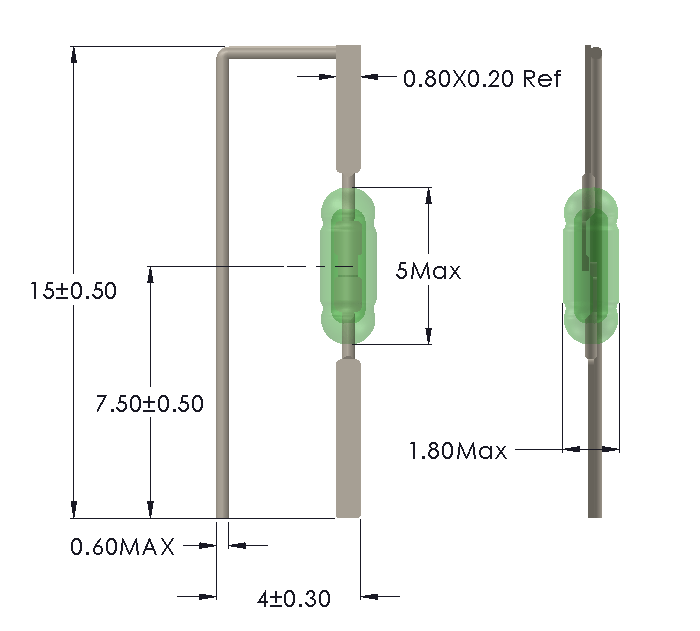 Drawing of UM-0018-M reedswitch for vertical mounting
