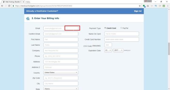 Enter in your billing information