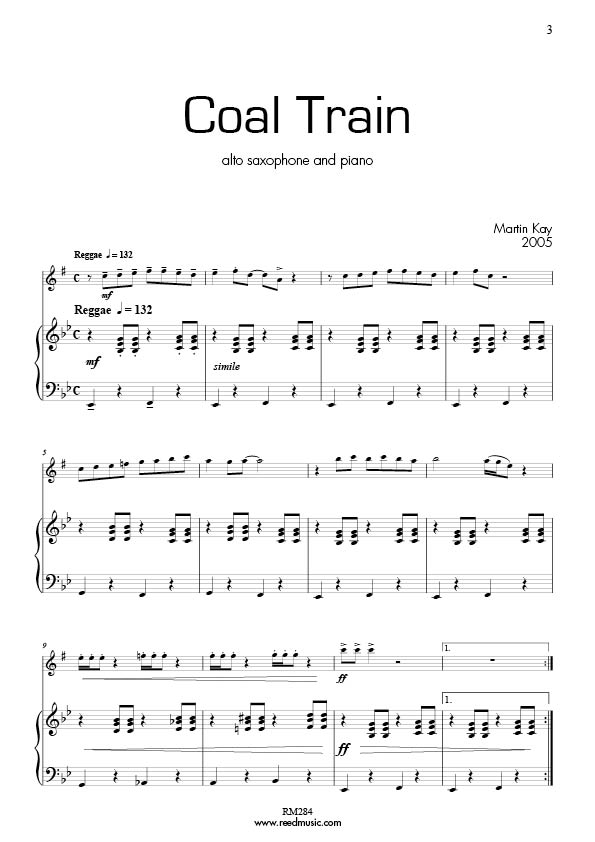 Blues Train (5 pieces) by Martin Kay for Alto Saxophone & Piano