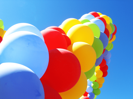 Colorful column of balloons
