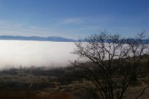 An inversion layer keeps moisture near ground level in this valley