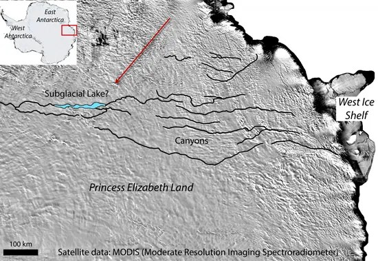 Satellite photo shows location of giant canyon and huge subglacial lake beneath Antarctic ice sheet