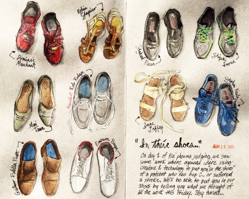 """Stephen Neale, """"Cannes Sketch No. 3 — Shoes"""" (Click to view enlargement)"""