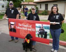Colton Rusk's family with his dog, Eli