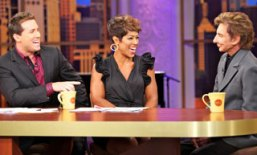 Hosts Ryan Chiaverini and Val Warner with guest Barry Manilow