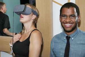 AICP LA attendees check out a virtual reality exhibit at the event