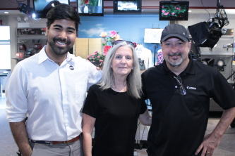 Business and Community Development Specialist Brian Khan, Reel Chicago Publisher Barbara Roche, and Canon Rep Dirk Fletcher at AbelCine Chicago