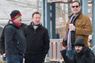 "Seth Henrikson, Dan Meyer, DP Damian Horan, and producer Jonathan Gray on the set of ""Pottersville"""