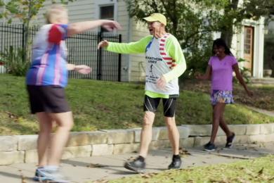 Larry's friends surprised him during his pre-marathon jog