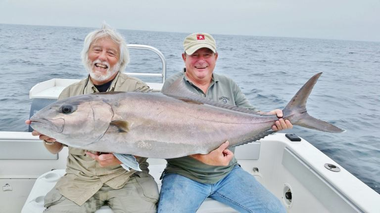 Could not figure out a better way to spend my Birthday than to go fishing yesterday. Good day. Limit of Vermillion Snapper and White Snapper and some nice Amberjack for a repeat group of snowbirds from Michigan. This was a beast that weighed 60 plus pounds. Long battle on an AJ of 21 minutes. Mike (gray beard) stayed on the fish the whole time and really put 110% effort into the fight.