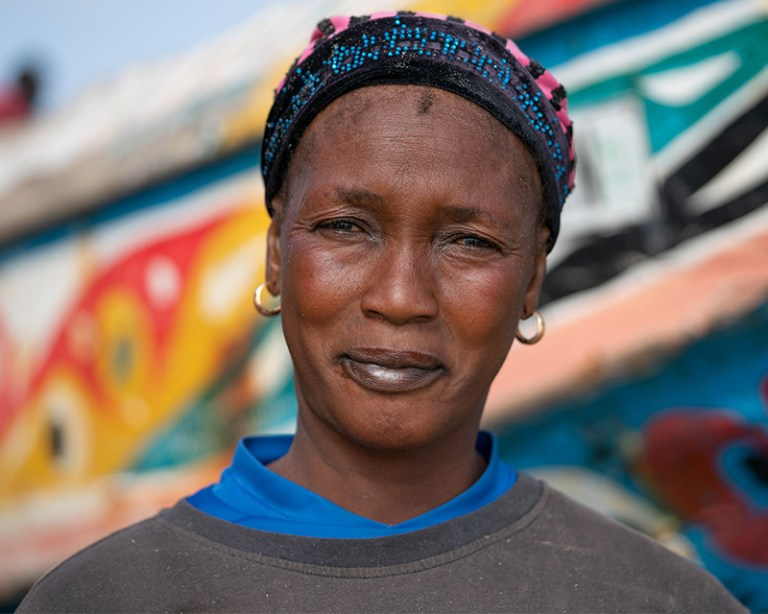 Close up of woman on the beach in The Gambia
