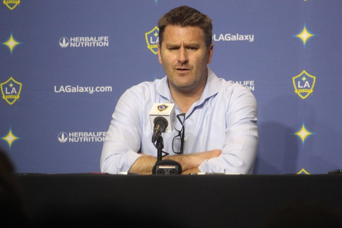 L.A. Galaxy Head Coach speaks with medic following home opener at Stubhub Center, Carson, Ca.