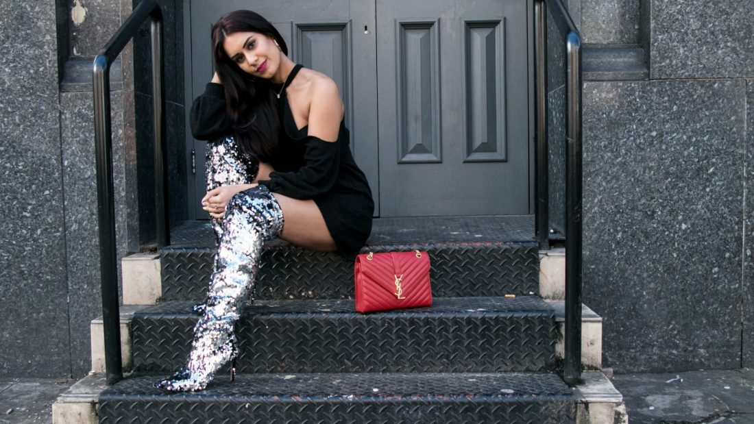 Reena Rai in sequin Topshop boots