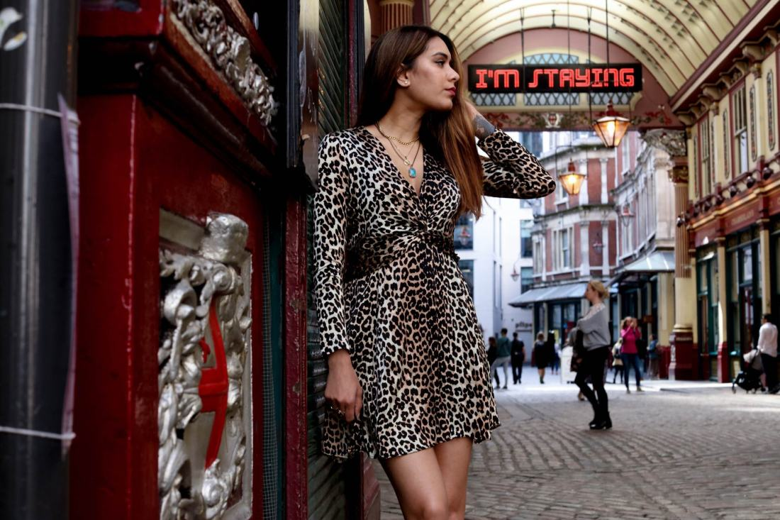 Reena Rai wearing leopard print Ganni dress