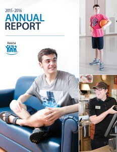 Cover of Reena's 2016 Annual Report. Man sitting on couch at home smiling. Woman working at Tim Hortons. Teenage boy playing basketball.