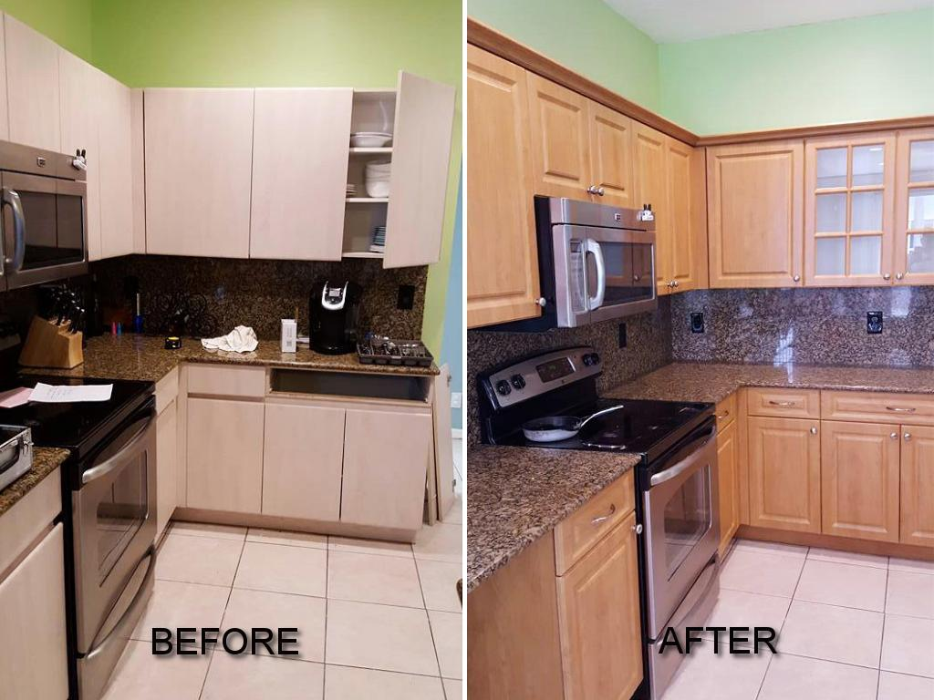 Before  After Pictures of Kitchen Cabinet Refacing Call now for a quote 9544941130Kitchen