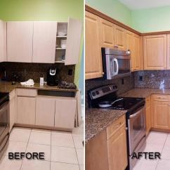 Kitchen Refacing Cost Buffet Cabinet Before & After Pictures Of Refacing. Call ...