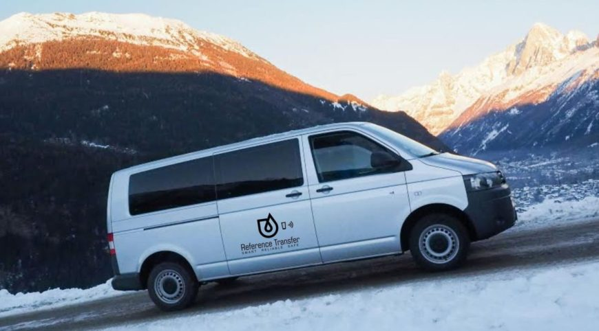 Reference Transfer van going uphill in Chamonix valley