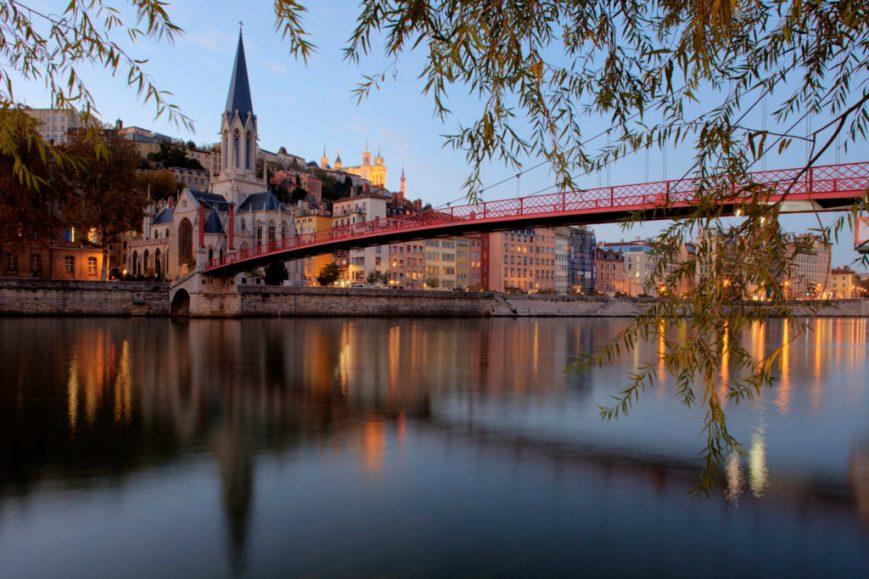 Saint George bridge in Lyon - church view