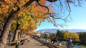 longest bench in Geneva in autumn