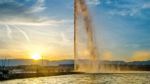Water Jet in Geneva at sunset