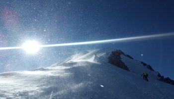 Mountaineering reaching the Mont Blanc summit