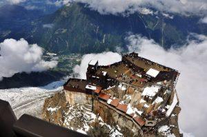 Aiguille du Midi platform, glacier and Chamonix