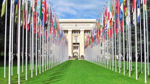 Main entrance in United Nations HQ in Geneva