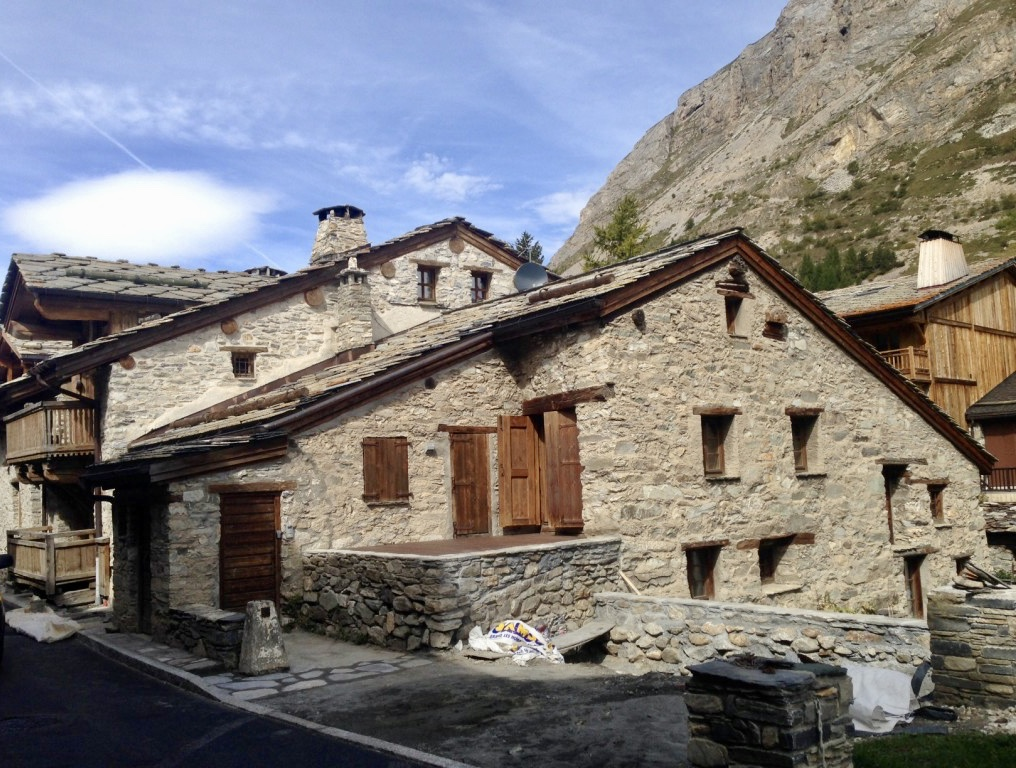 Traditional alpine village stone house in Italy