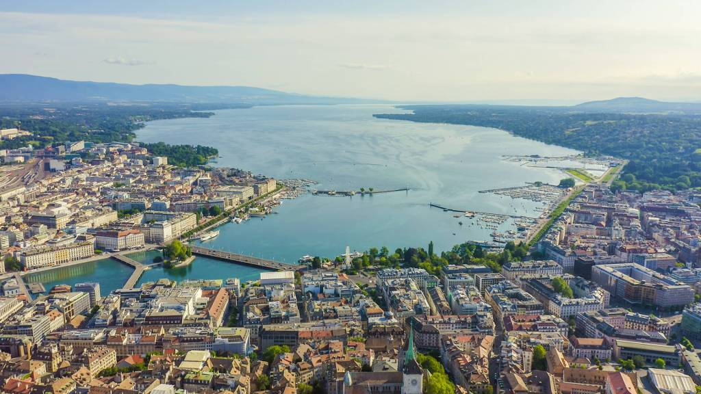 airplane view of Geneva city cantre and lake Leman
