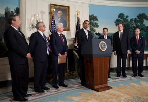 """Barack Obama speaks to press in Diplomatic Reception Room 2-25-09"" by Pete Souza - http://www.whitehouse.gov/blog/09/02/25/Overhaul/. Licensed via ttps://commons.wikimedia.org/wiki/File:Barack_Obama_speaks_to_press_in_Diplomatic_Reception_Room_2-25-09.jpg#/media/File:Barack_Obama_speaks_to_press_in_Diplomatic_Reception_Room_2-25-09.jpg"