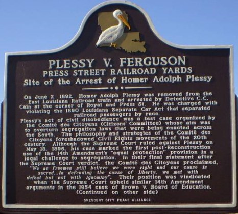 """""""Plessy marker"""" by Skywriter - Own work. Licensed under CC BY-SA 3.0 via Wikimedia Commons - https://commons.wikimedia.org/wiki/File:Plessy_marker.jpg#/media/File:Plessy_marker.jpg"""