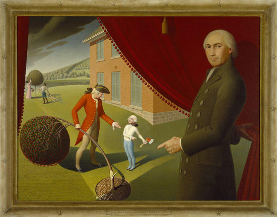 """Grant Wood; """"Parson Weems' Fable""""; 1939; oil on canvas; Amon Carter Museum, Fort Worth, Texas; 1970.43"""
