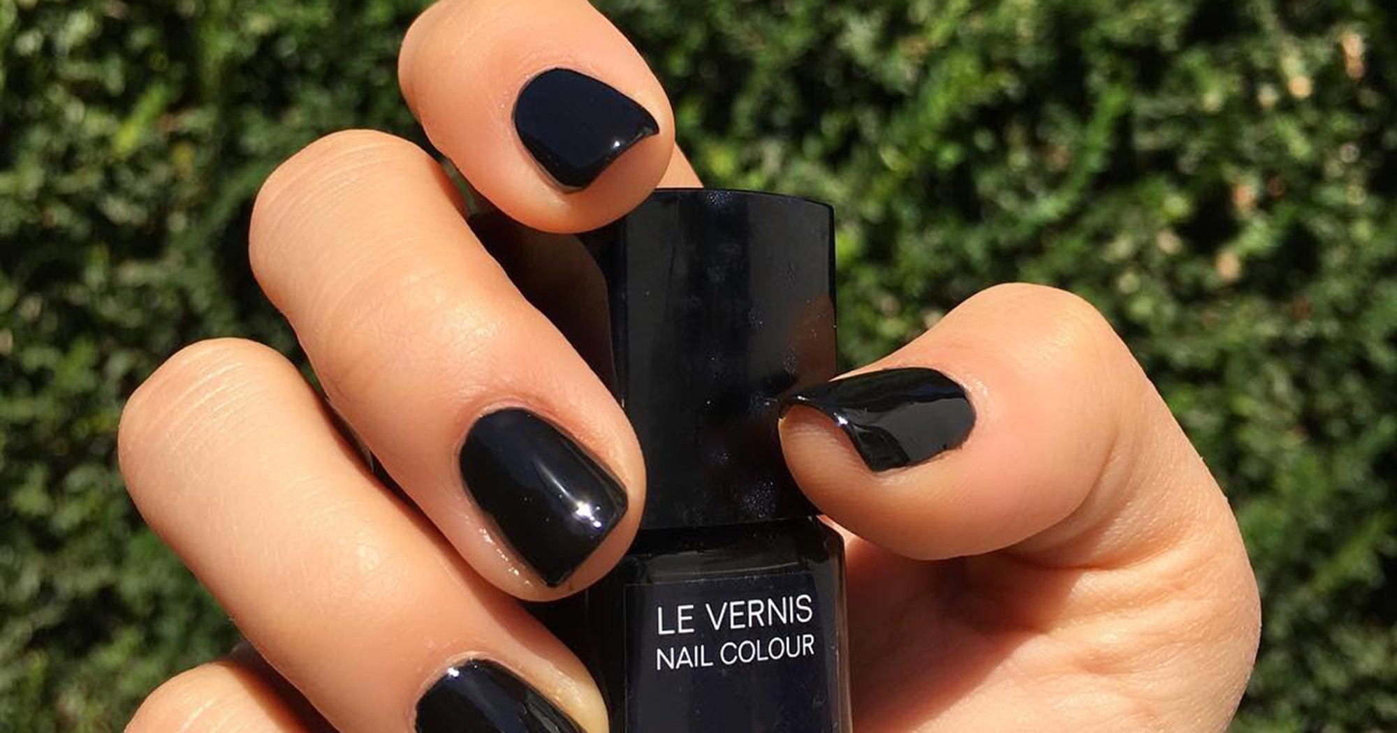 black nail polish dark